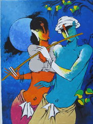 Krishna playing Flute in Moonlight