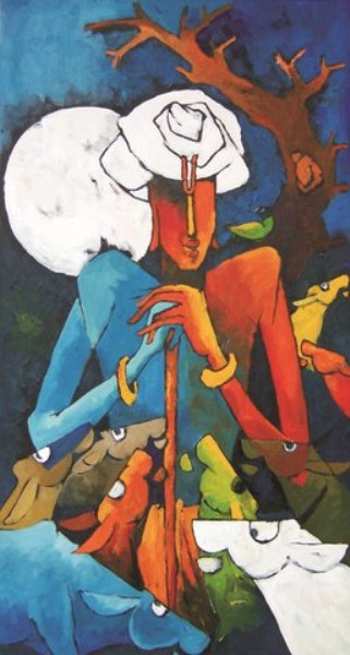 Krishna and the moon